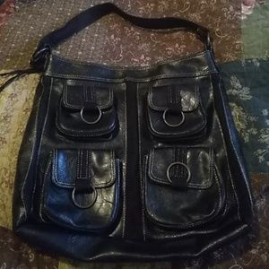 Faux leather large shoulder bag